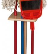 Six Piece Cleaning Set with Wooden Rack