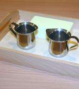 Pouring Set with Two Stainless Steel Creamers and Wooden Tray