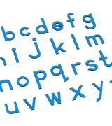 Small Movable Alphabet Print - Blue Wooden Letters, Lower Case