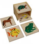 Animal Puzzle Cabinet with 5 Puzzles