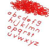 Small Movable Alphabet Print - Red Wooden Letters, Lower Case