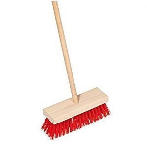 Indoor Scrubber with Wooden Handle: Red, 65 x 16.5 x 5.5 cm