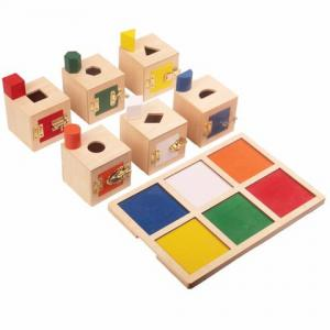 Lock Boxes with Objects and Tray - Set of 6
