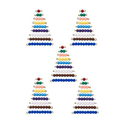 Colored Bead Stairs in a Red Wooden Box-5 Sets