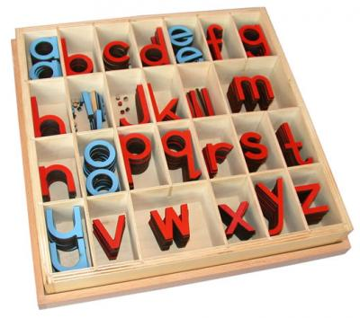 Small Movable Alphabet - Print Red & Blue 5/10 Count With Box