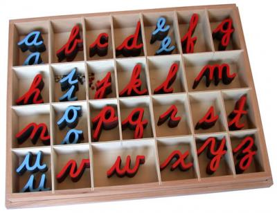 Small Movable Alphabet - Cursive Red & Blue 10/20 Count With Box