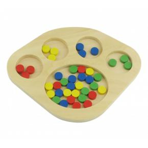 Wooden Sorting Tray with Circle Compartments