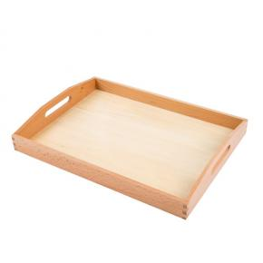 Large Wooden Tray with Cutout Handles