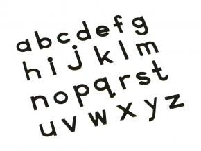 Small Movable Alphabet Print - Black Wooden Letters, Lower Case